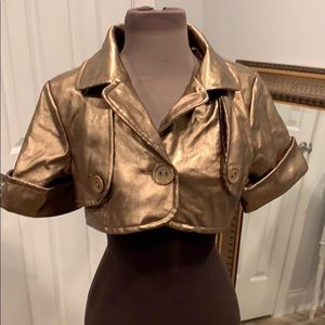 Gold metallic short jacket, size small